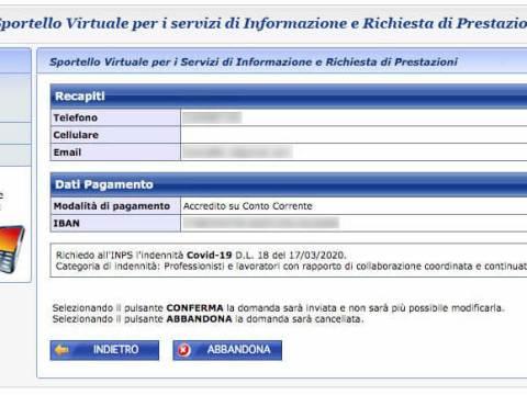 bonus 600 euro modifica IBAN e modalità di pagamento