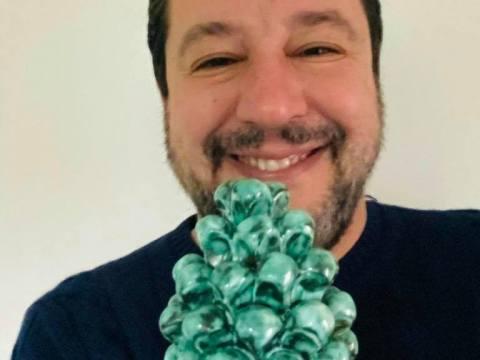 Nuovo selfie di Matteo Salvini, stavolta con la Pigna di Caltagirone. L'ultima volta era toccata al presidente del Consiglio, Giuseppe Conte.