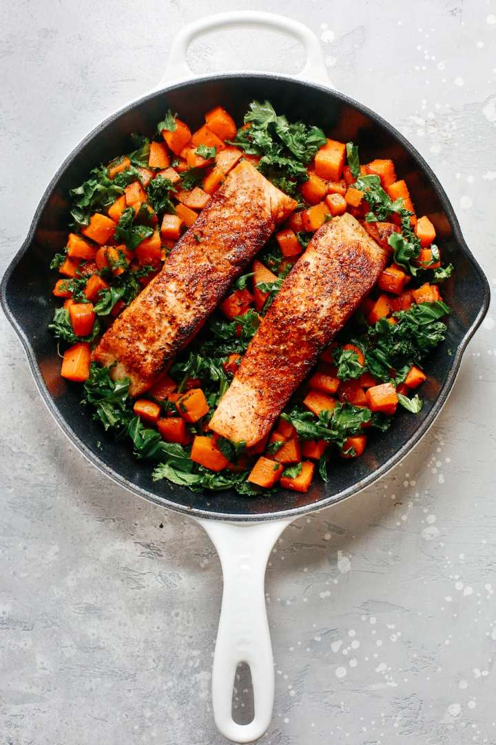 Spicy Salmon Sweet Potato Skillet