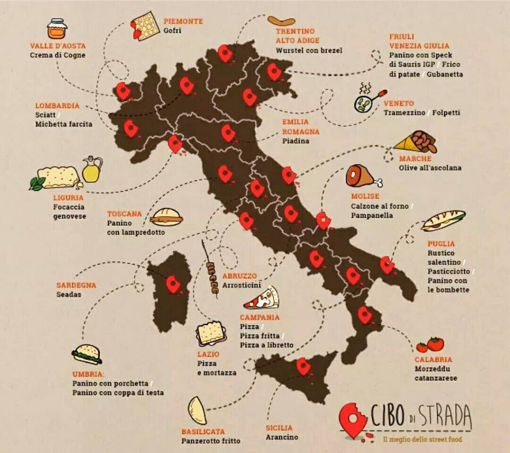 mapa gastronomia italia