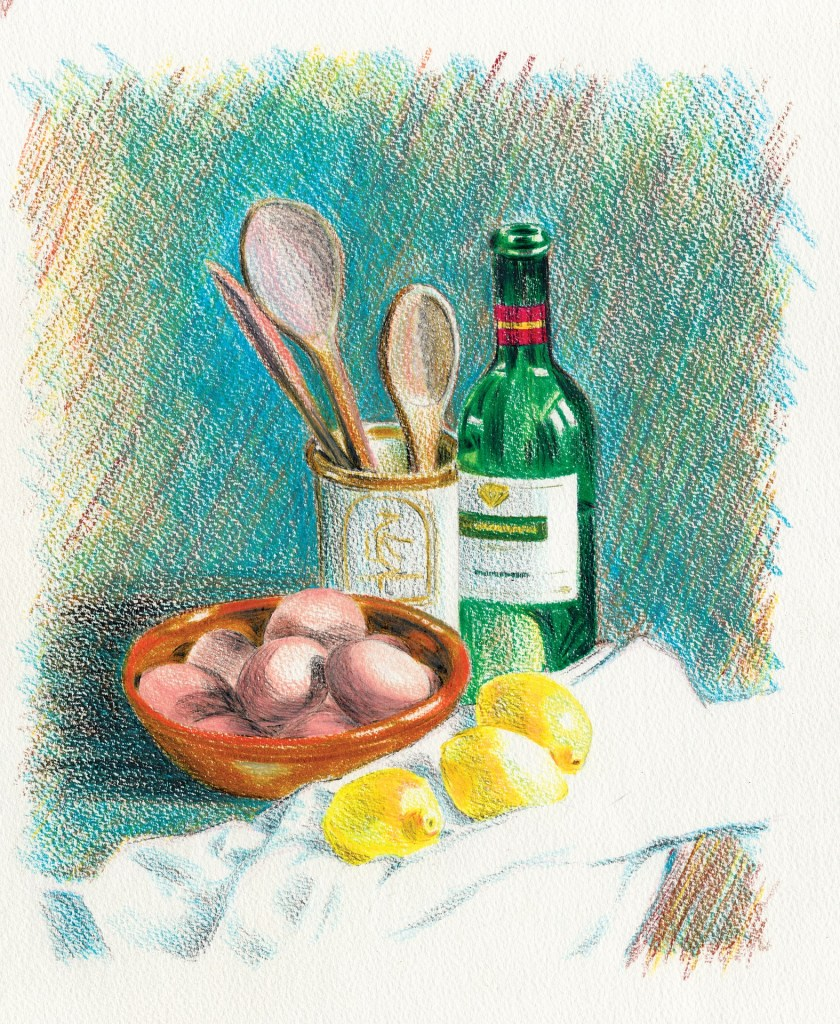 A still life of a lemons, spoons, and a bottle of wine.