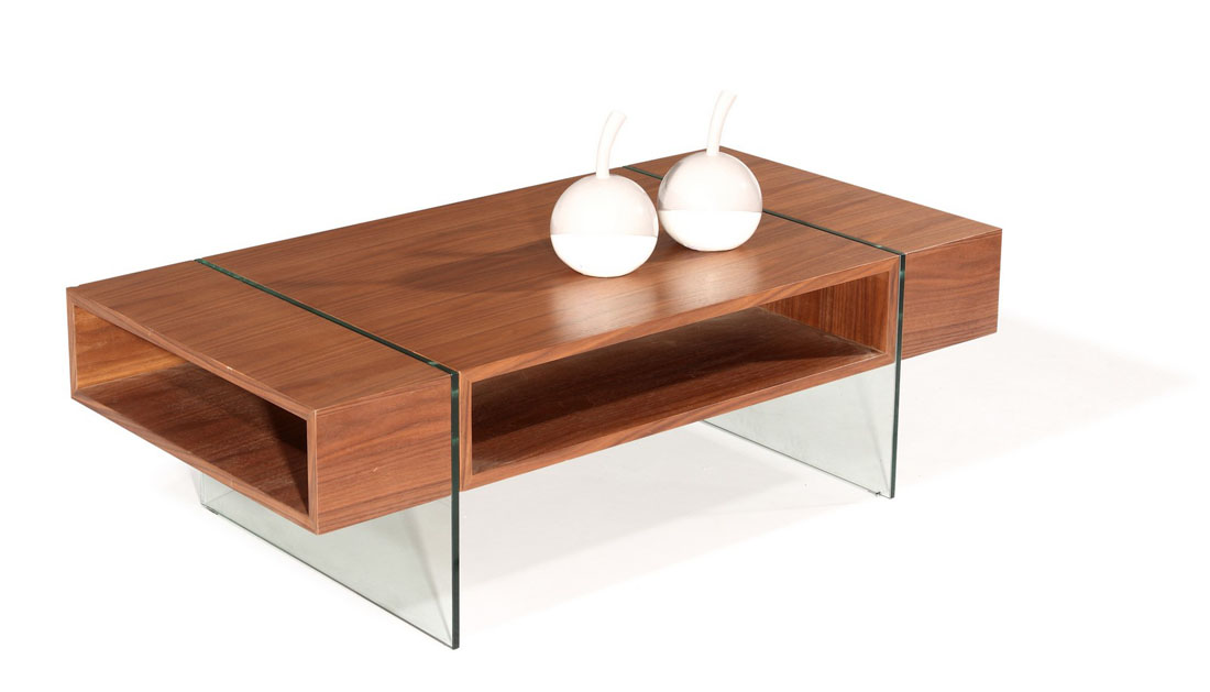 elegant rectangular coffee table with two glass legs and a shelf