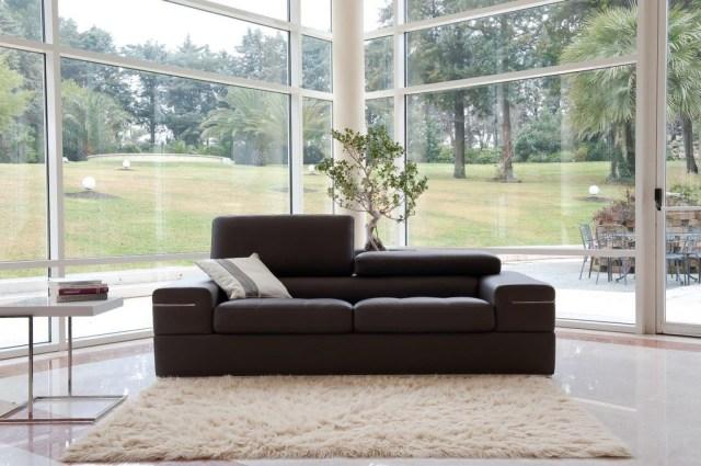 Brown Contemporary Living Room Set Finest Genuine Italian ...
