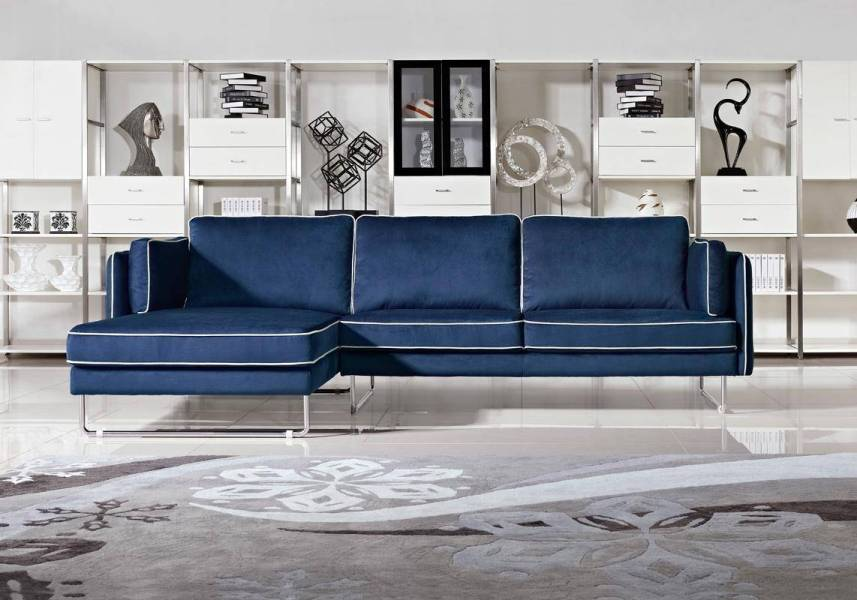 Contemporary Blue Fabric Sectional Sofa with White Piping Boston     Fabric Couches  Corner Sectional Sofas