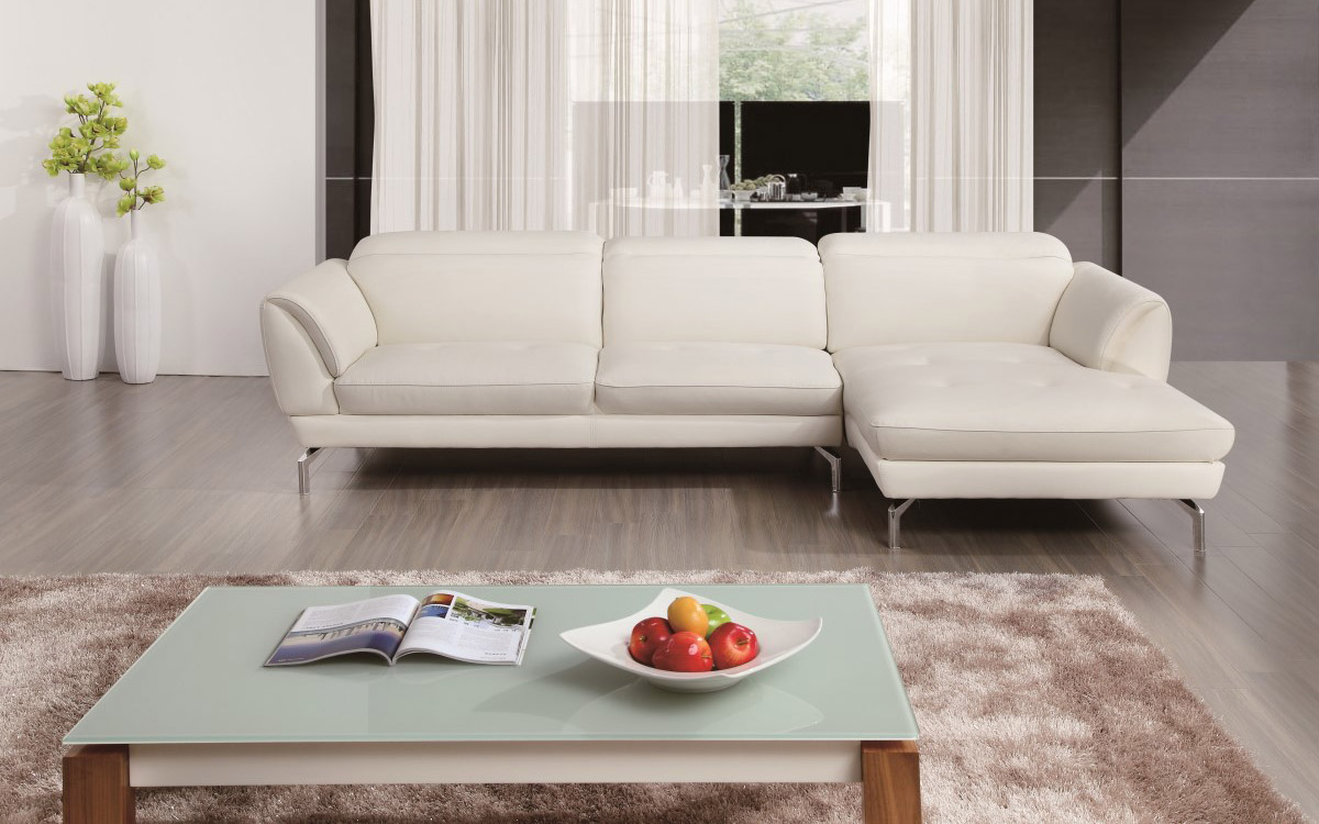stylish tufted sectional upholstered in real leather