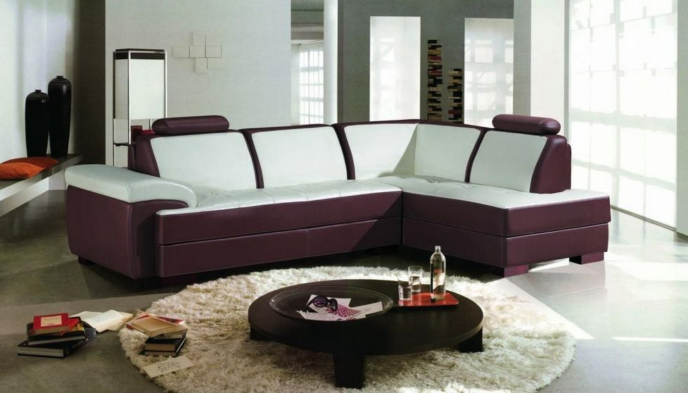 two toned contemporary bonded leather sectional sofa