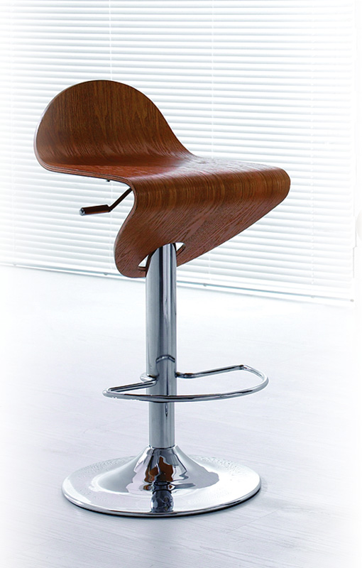 Contemporary Light Zebrano Wood Finish Curved Bar Stool