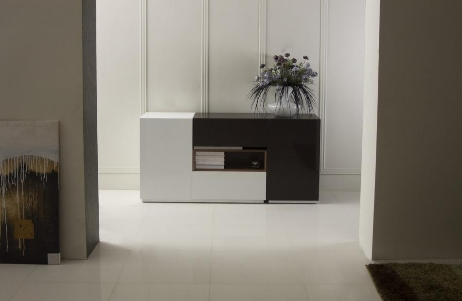 Contemporary Two Tone Buffet With Middle Display Toledo