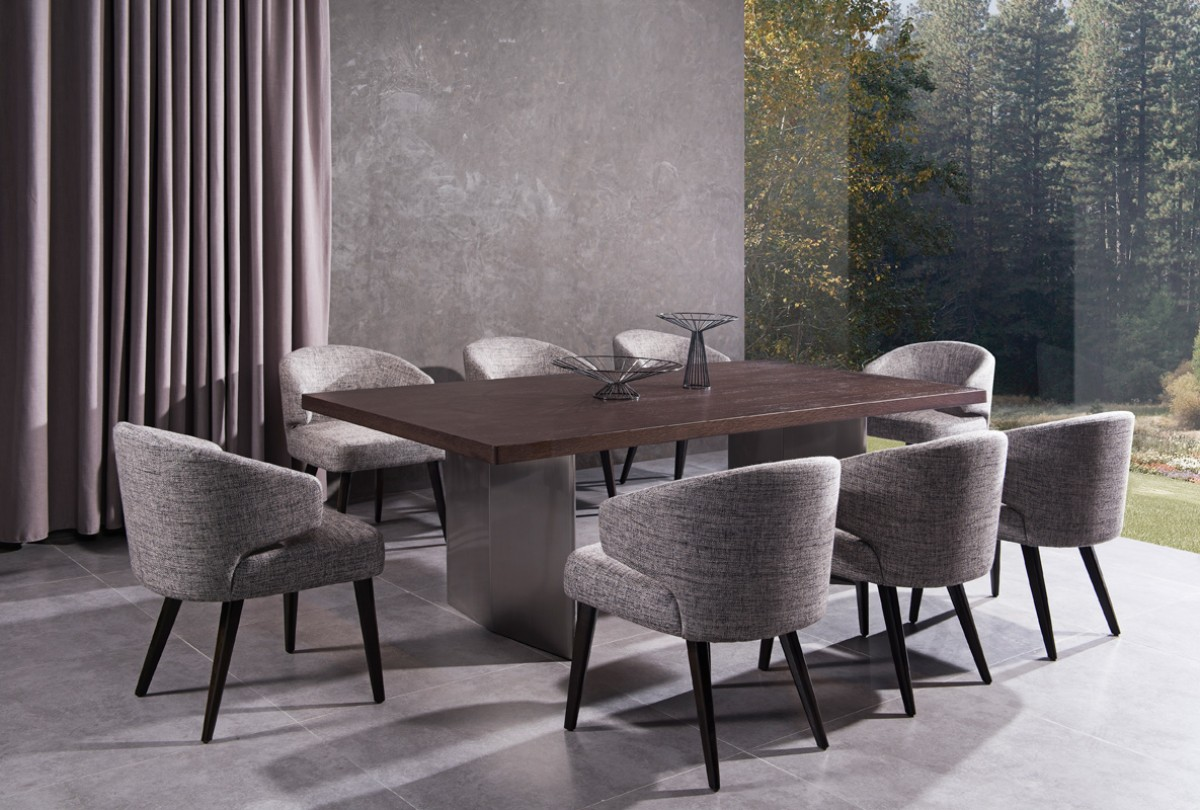 Modern Brown Oak Top And Stainless Steel Base Dining Table