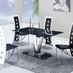 Fixed Black Glass Top Leather Dinette Tables And Chairs Detroit Michigan Gf551t803