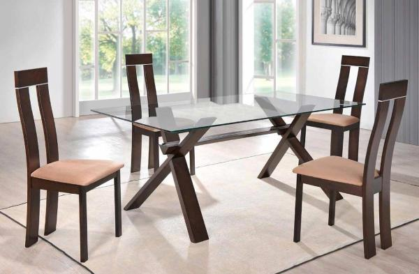 Sophisticated Rectangular in Wood Clear Glass Top Dining ...