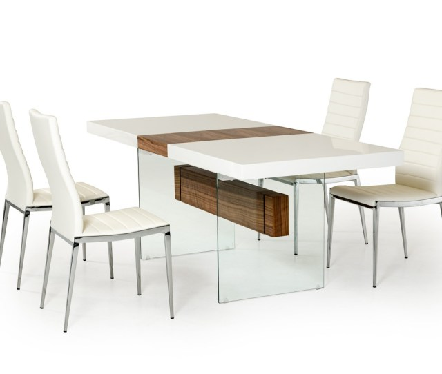 Dining Sets With Chairs White And Walnut Floating Extendable Dining Table