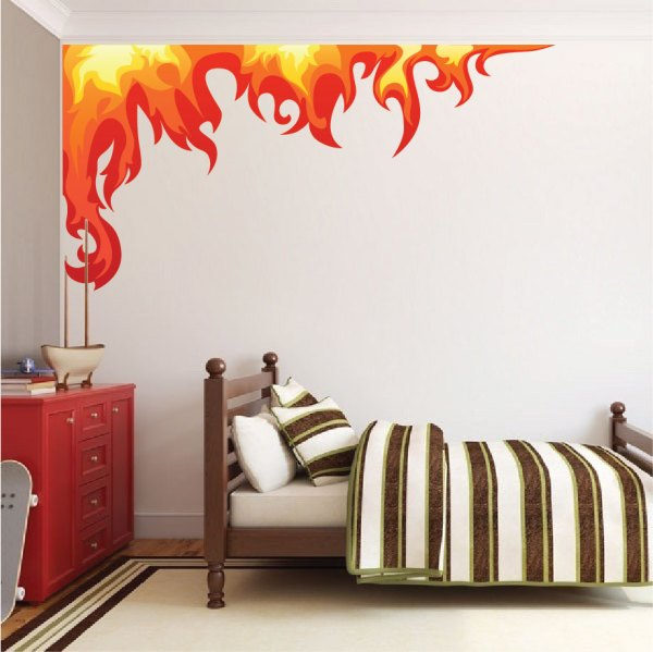 kids bedroom sticker wall murals Bedroom Flame Wall Mural Decal - Boys Room Corner Flame Wall Decal - Flame Decals - Removable