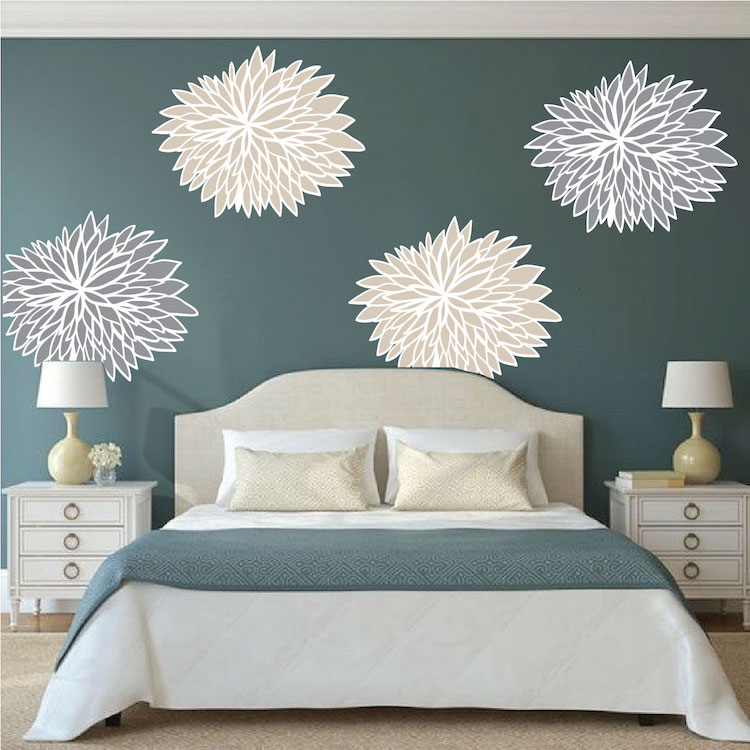 bedroom flower wall decals - floral wall decal murals - primedecals