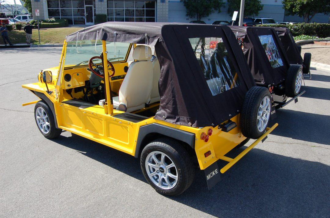 Yellow Moke with Enclosure and custom seats Rear