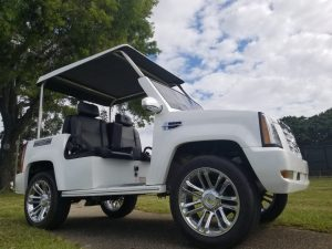 Cadillac Escalade White side view 4 passenger
