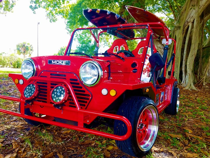 custom led lights on a moke golf car