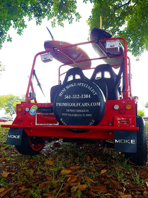rear view of a moke golf car