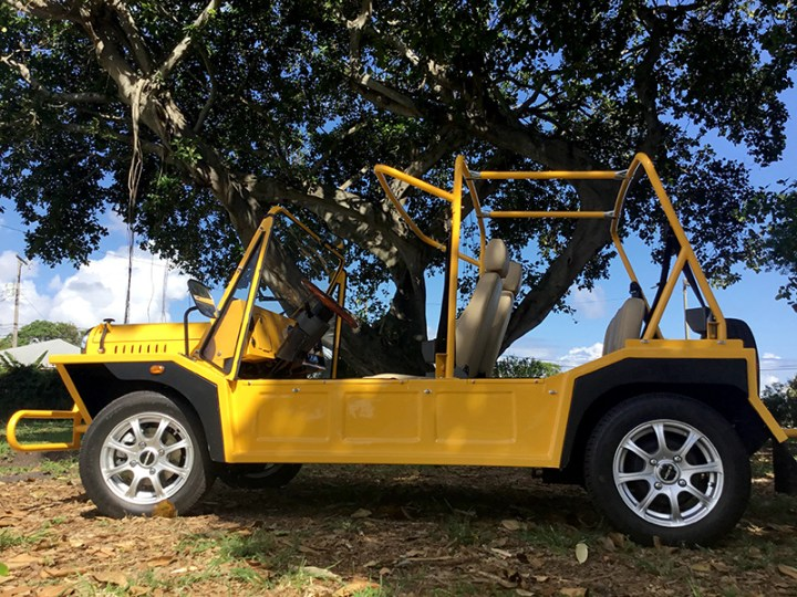 moke golf car in yellow