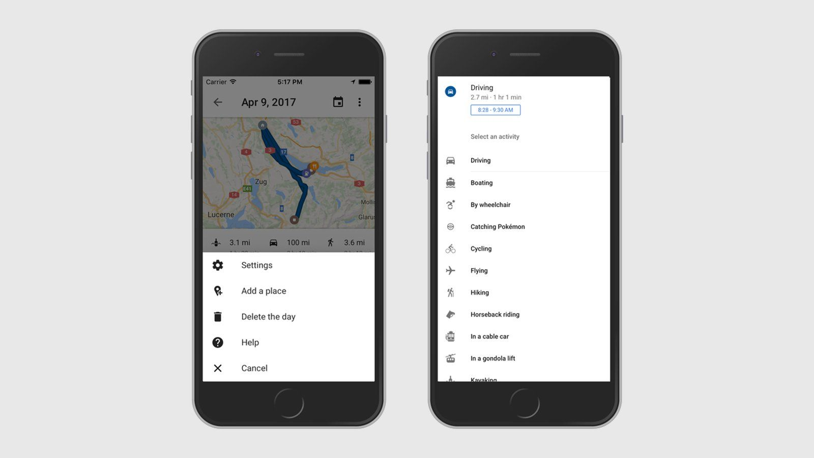 Google Maps - Timeline Feature