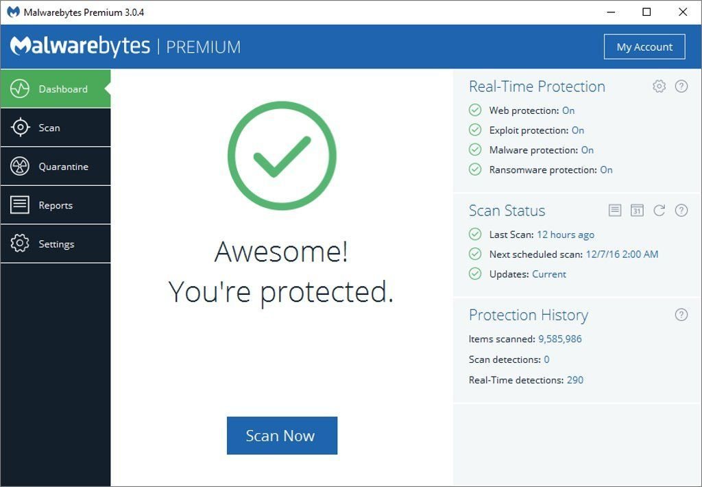 Malwarebytes is a well known name for Antimalware software. It is very popular as it is effective and FREE. You can use it free for life to scan and clean malware.