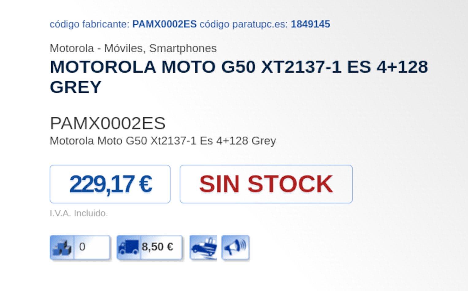 Motorola Moto G50 Leaked Pricing in Spanish