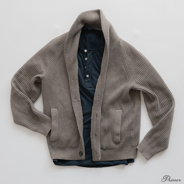 shawl collar sweater with blue henley