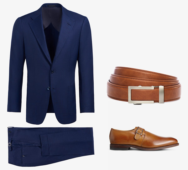blue suit with tan brown belt and shoes