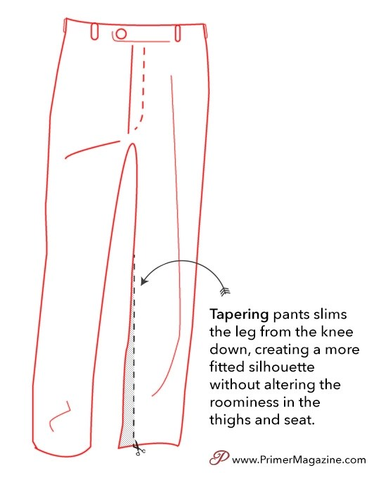 pant and jeans taper leg alterations at tailor