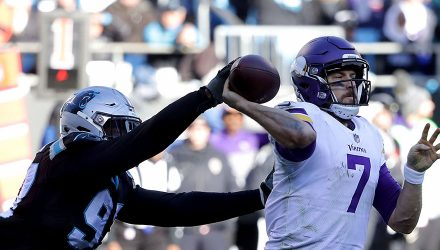 CHARLOTTE, NC - DECEMBER 10:  Mario Addison #97 of the Carolina Panthers strips the ball from Case Keenum #7 of the Minnesota Vikings in the third quarter during their game at Bank of America Stadium on December 10, 2017 in Charlotte, North Carolina.  (Photo by Streeter Lecka/Getty Images)