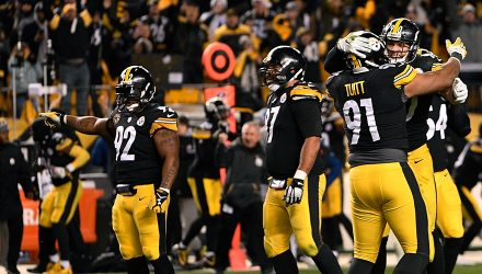 PITTSBURGH, PA - DECEMBER 10: Stephon Tuitt #91 of the Pittsburgh Steelers celebrates with T.J. Watt #90 at the conclusion of the Pittsburgh Steelers 39-38 win over the Baltimore Ravens at Heinz Field on December 10, 2017 in Pittsburgh, Pennsylvania. (Photo by Justin Berl/Getty Images)