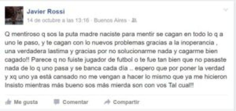 Captura de pantalla del posteo del 'Bicho' Rossi en la red social Facebook.
