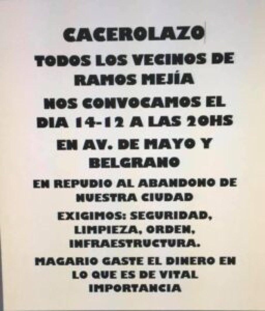 Cacerolazo en Ramos Mejía
