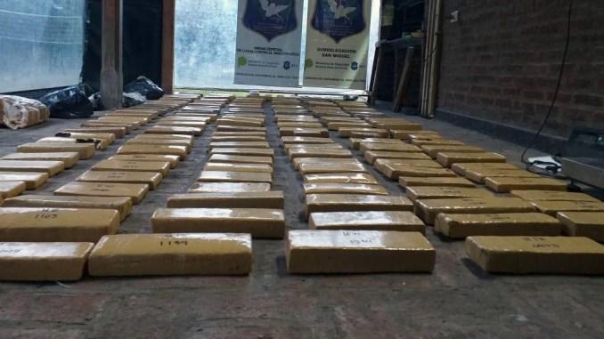 Incautan 163 kilos de marihuana en Moreno