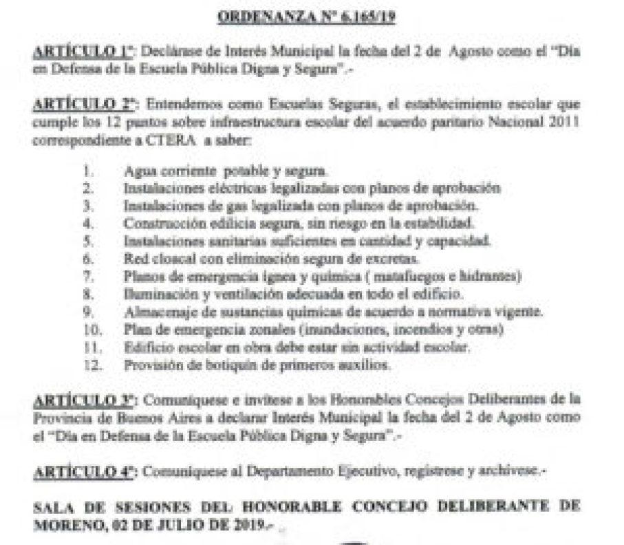 Ordenanza Moreno