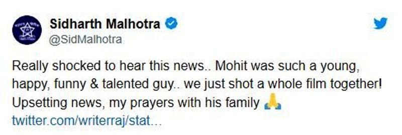 Sidharth Malhotra's Tweet on Mohit Baghel's Demise