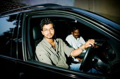 Vijay With His Car