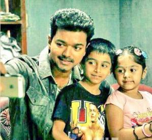 Vijay With His Children