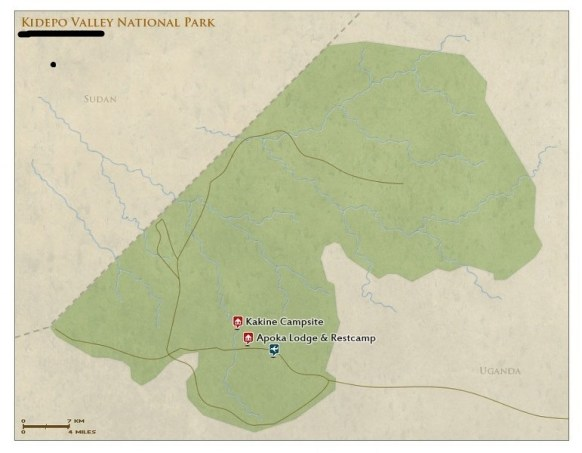 Kidepo National Park, Uganda Wildlife safari tour in Kidepo Valley National Park Map