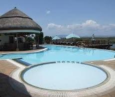 swimming pool at mweya safari lodge