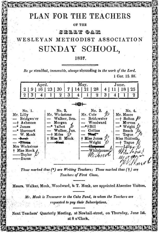 Wesleyan Methodist Association Sunday School Teachers' Plans