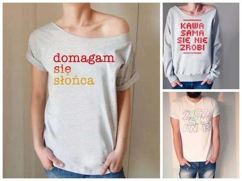 koszulki z fajnym napisem, koszulki z napisem, domagam się słońca, kawa sama się nie zrobi