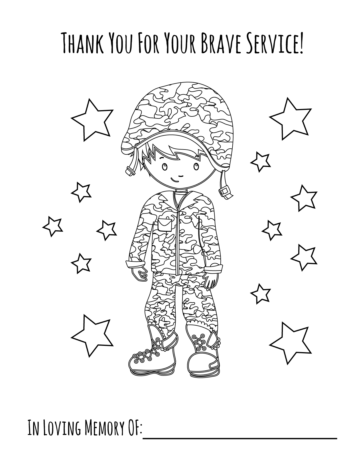 Memorial Day Boy Printable Coloring Page Primoparty