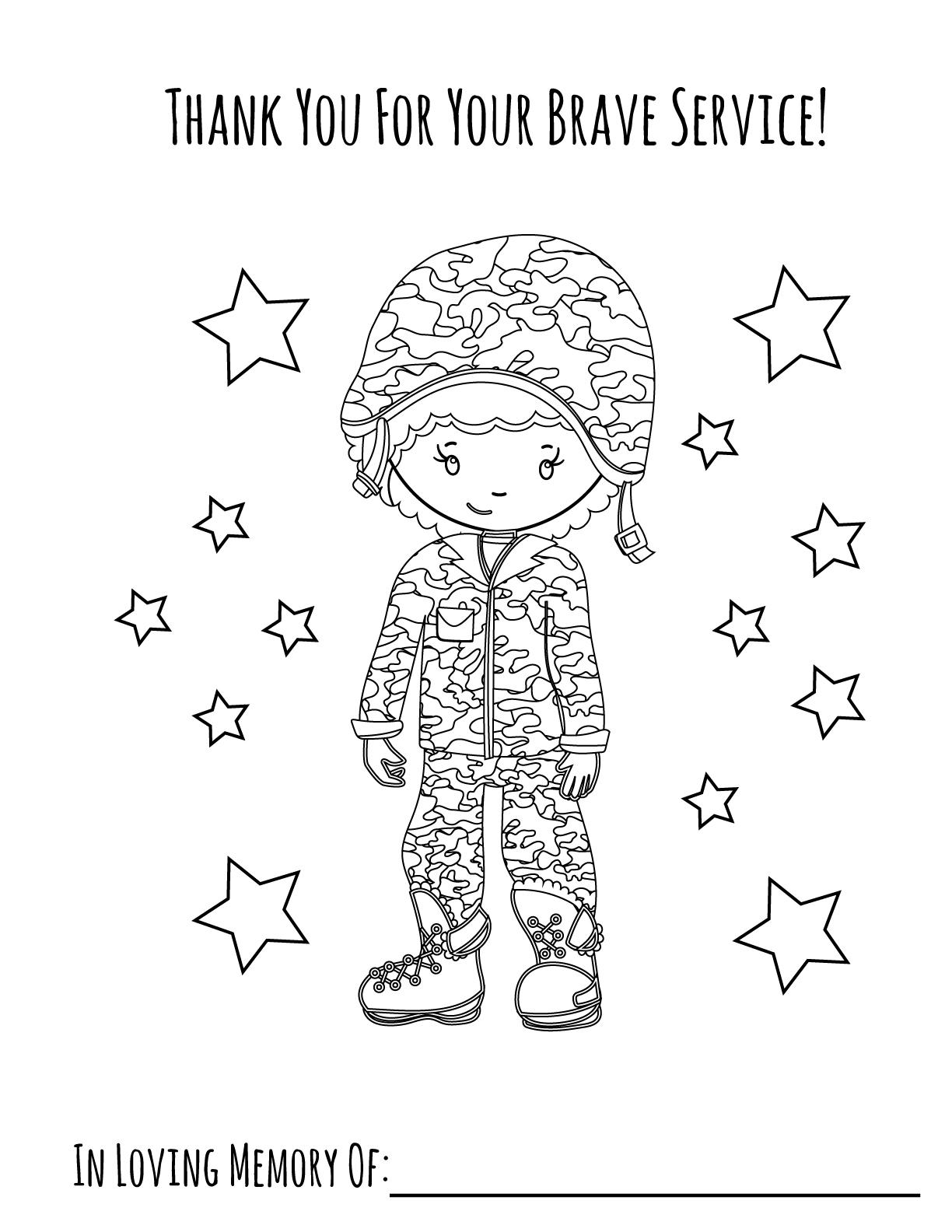 Memorial Day Boy Printable Coloring Page Primoparty