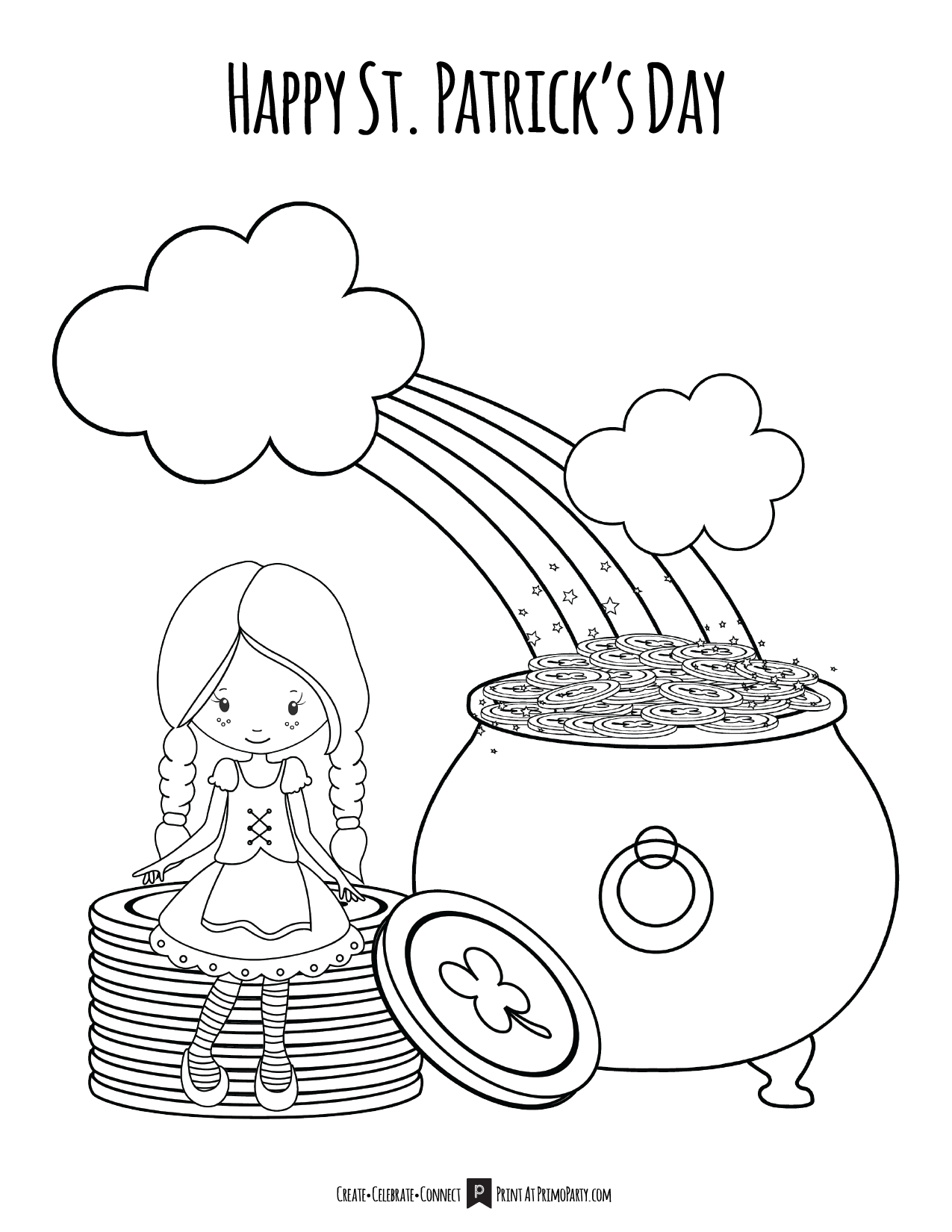 Lucky Girl St Patrick S Day Coloring Page Primoparty