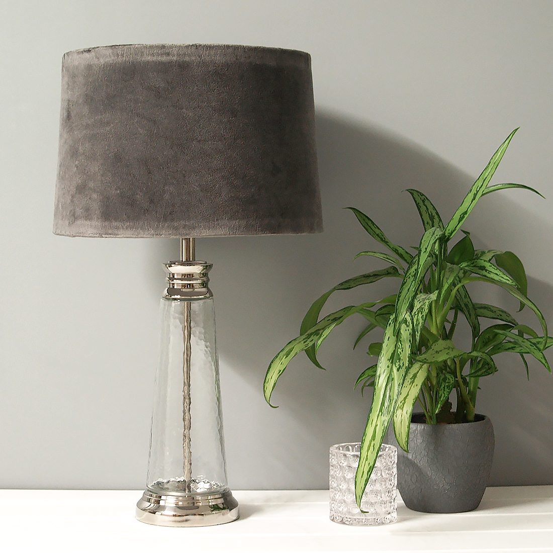 Textured Glass Table Lamp With Grey Velvet Shade