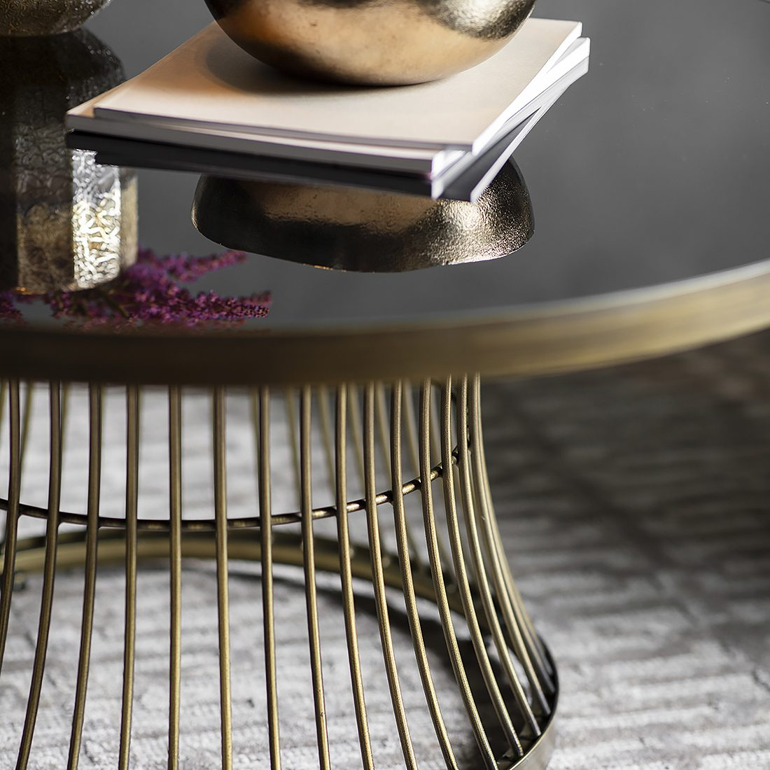 round coffee table with smoked glass top bronze