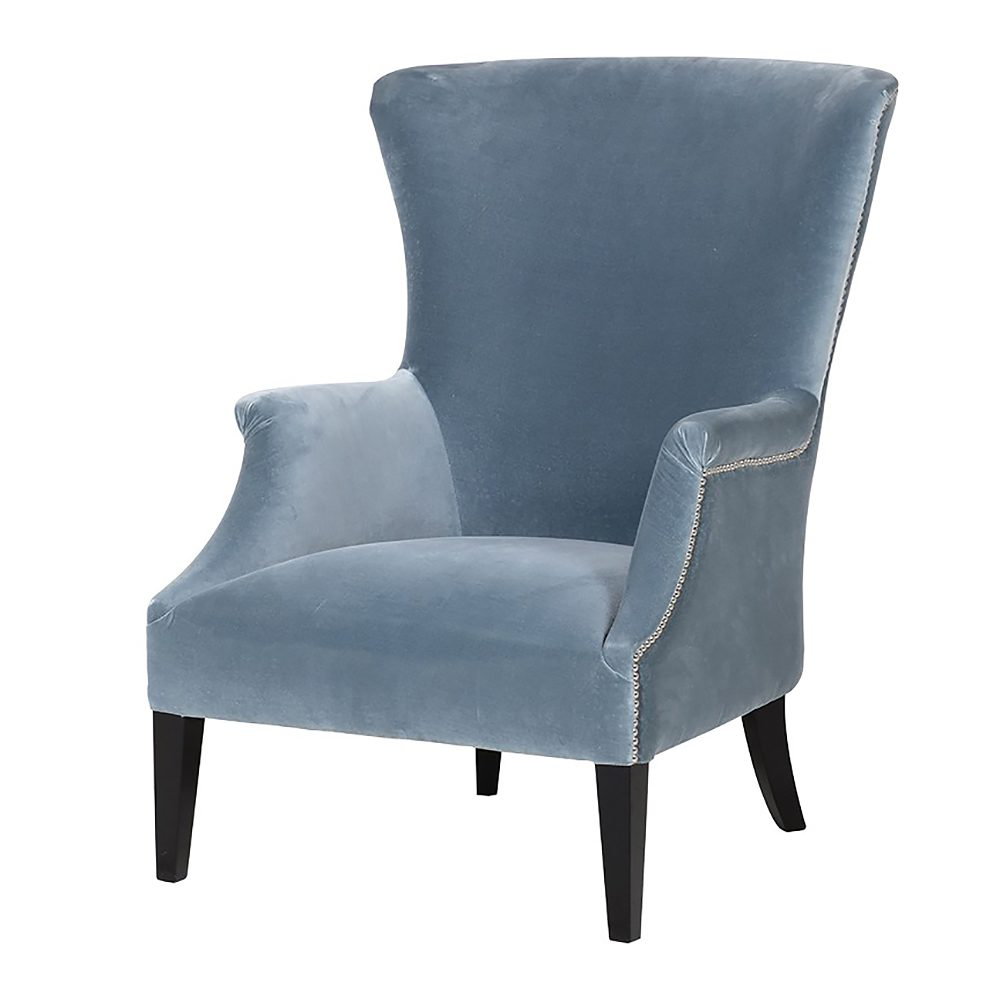 Blue Velvet Wingback Armchair Primrose Plum