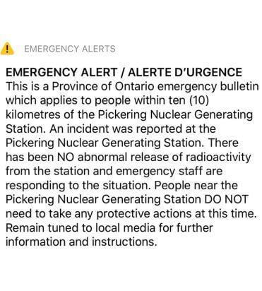 Pickering Power Plant Alert