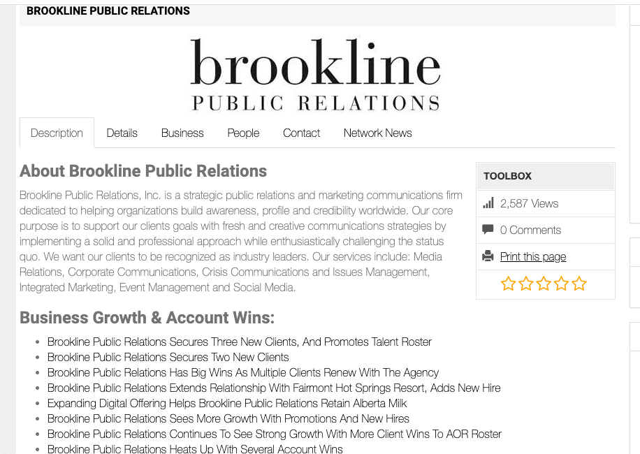 Brookline Public Relations profile